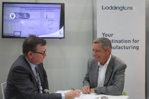 Andy Tibbs (right) on the Boddingtons Stand at Compamed 2016